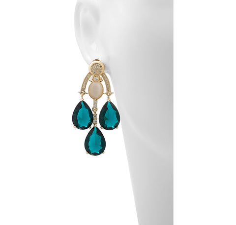 """Anouschka"" Earrings with Faceted Glass, CZ and Simulated Cat's Eye"