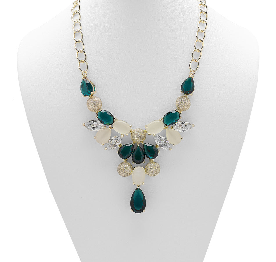 """Anouschka"" Necklace with Faceted Glass, CZ and Simulated Cat's Eye"