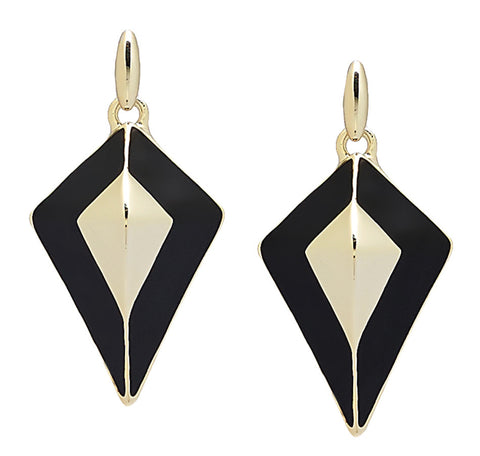"""Villa Franca"" Goldtone and Black Enamel Earrings"
