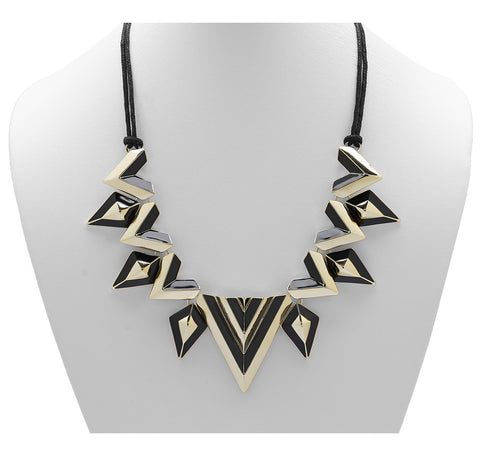 """Villa Franca"" Goldtone And Black Enamel Pyramid Necklace 20"""