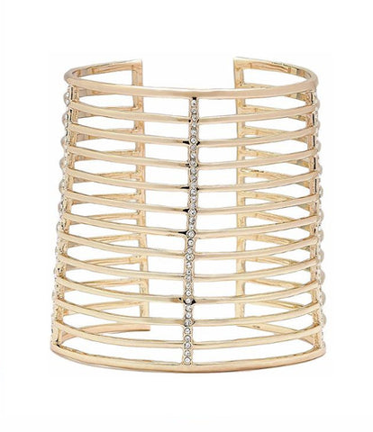 """La Jeunesse"" Pave' Elongated Geometric Cuff Bracelet"