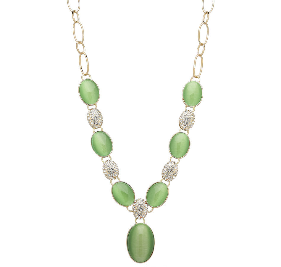 """Una Primavera"" Simulated Cat's Eye Cabochon and Pave' Drop Necklace 18"""