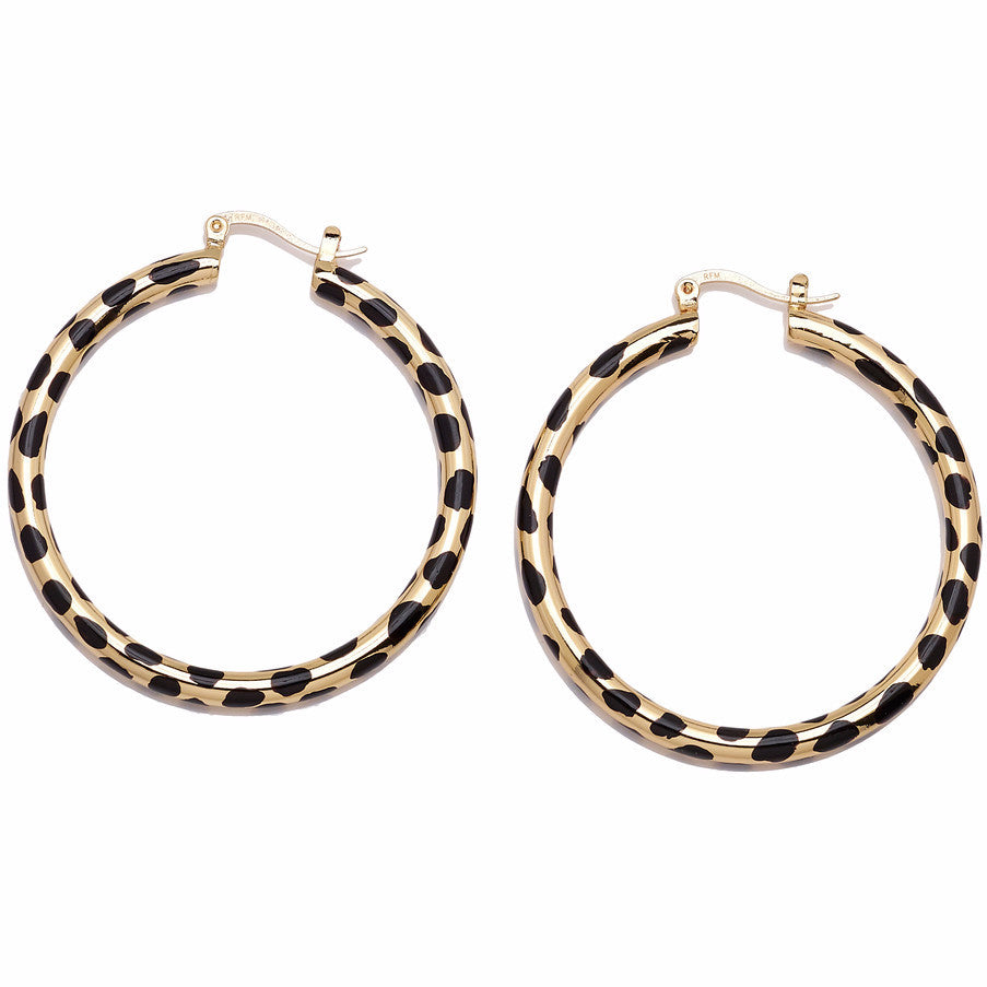 "Roberto by RFM ""Giaguaro"" Animal-Print Goldtone Hoop Earrings"
