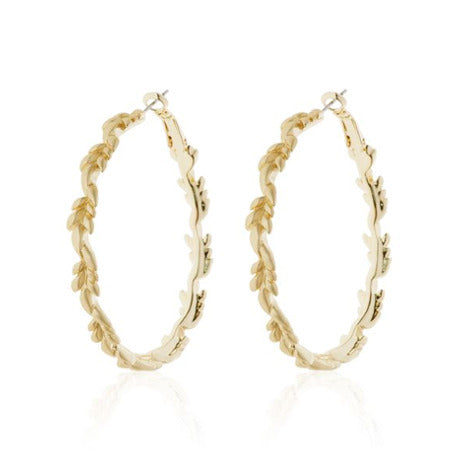 "Roberto by RFM ""Cortona"" collection hoop earrings with leaf design"