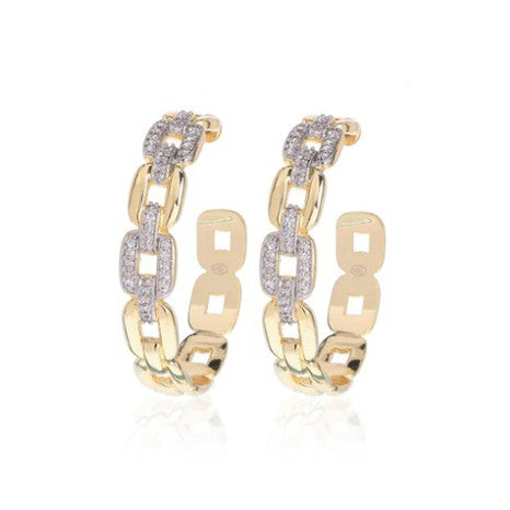 Roberto by RFM Hoop earrings with rolò mesh design and crystals
