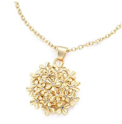 "Roberto by RFM ""Bloomy"" Crystal Goldtone Floral Cluster Pendant with 16"" Chain"