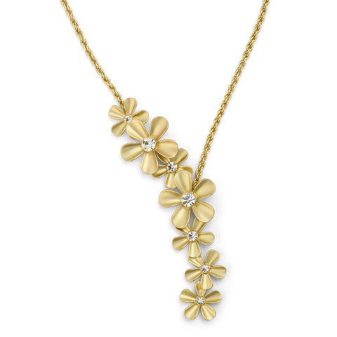 "Roberto from RFM ""Fiorita"" Crystal Gold tone Floral Cluster Pendant with 16 ""Chain"