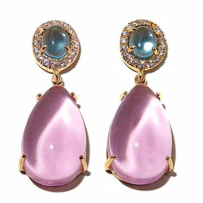 "Roberto by RFM ""La Fortezza"" and Blue Stone and CZ and Goldtone Drop Earrings"
