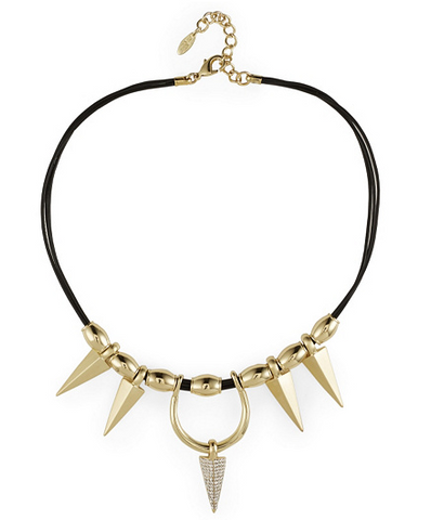 "Roberto by RFM ""Spade"" Goldtone Spike 17"" Leather Cord Necklace"