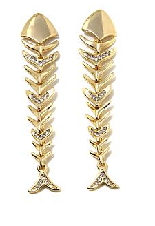 "Roberto by RFM ""Lisca del Mare"" Crystal-Accented Goldtone Fish-Design Drop Earrings"