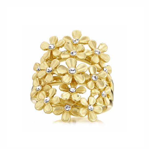 Roberto by RFM Band ring with bouquet design and crystals