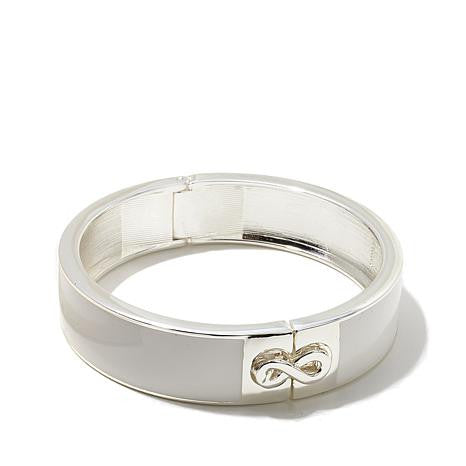 "Roberto by RFM ""L'infinito"" Infinity Design Enamel Thin Hinged Bangle Bracelet"