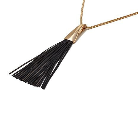 "Roberto by RFM ""Frangia"" Leather Tassel Necklace"