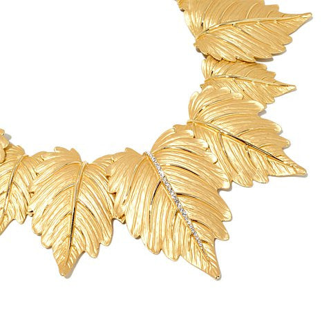 "Roberto by RFM Crystal Goldtone Large Leaf 15"" Collar Necklace"