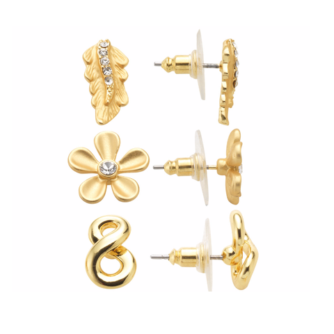 "Roberto by RFM ""Giardino"" Crystal-Accented Goldtone Floral Hoop Earrings"