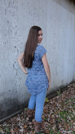 Classic Slouchy Tee Blue Denim Color Burnout Knit