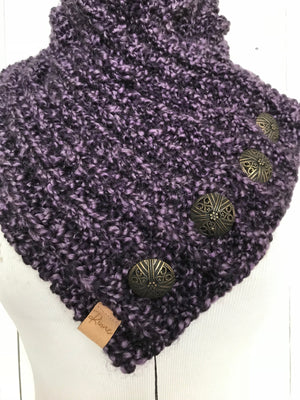 Classic Knit Button Cowl in violet purple with bronze buttons