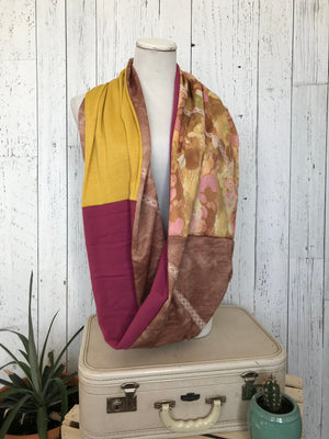vintage floral, vintage brown poly, yellow jersey knit, pink fleece knit infinity scarf