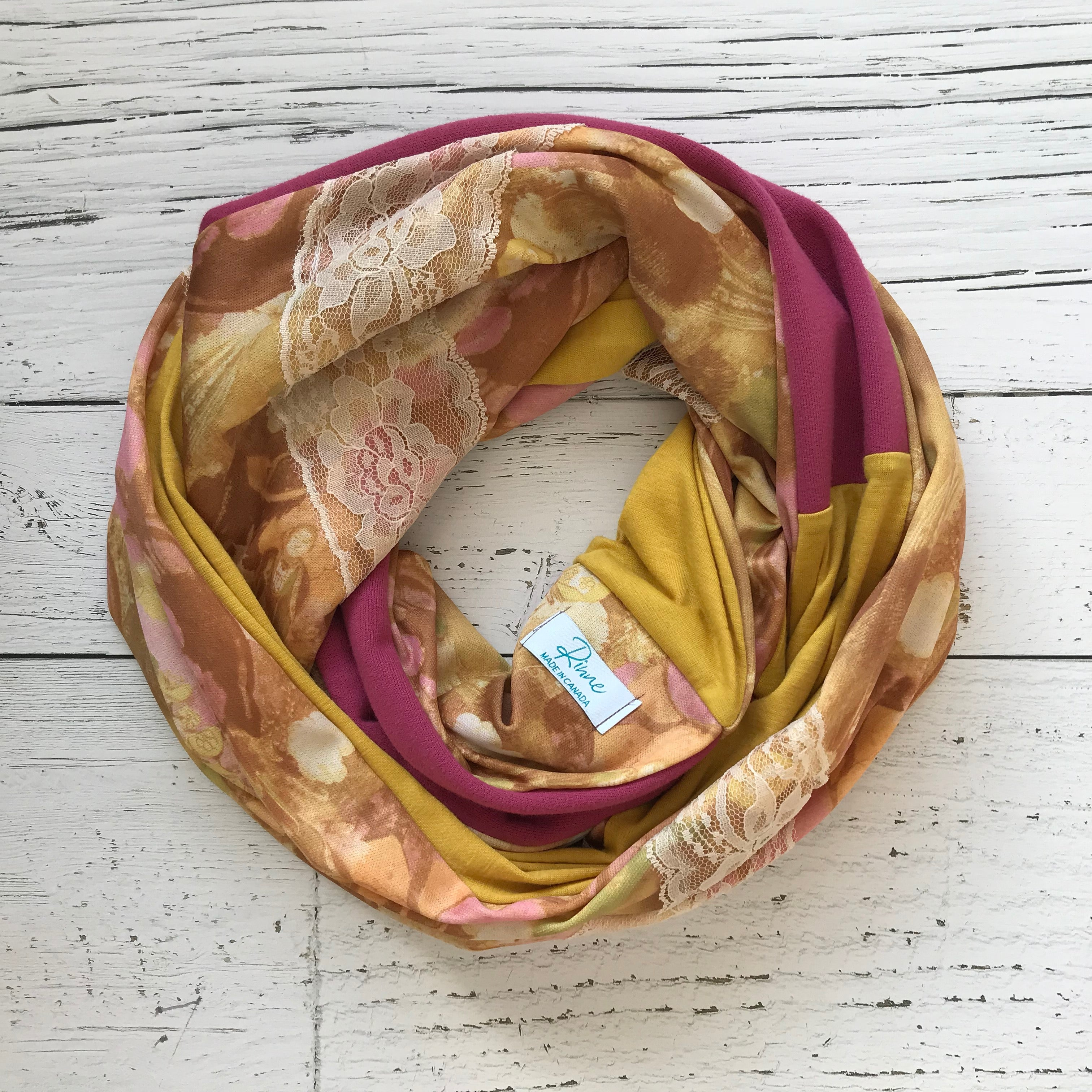 vintage floral, lace, yellow jersey, pink infinity scarf