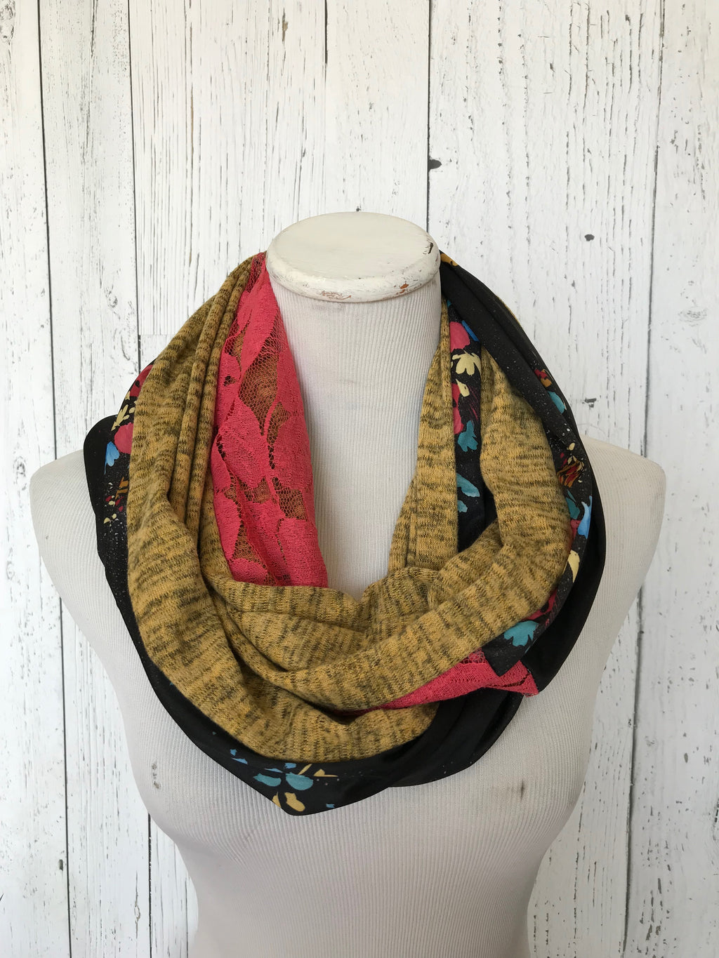 vintage black floral, burnt coral lace and mustard knit infinity scarf