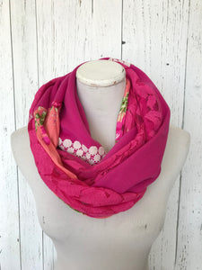 pink lace and floral infinity scarf