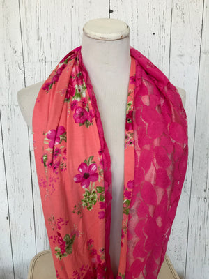 coral pink floral print and pink lace infinity scarf