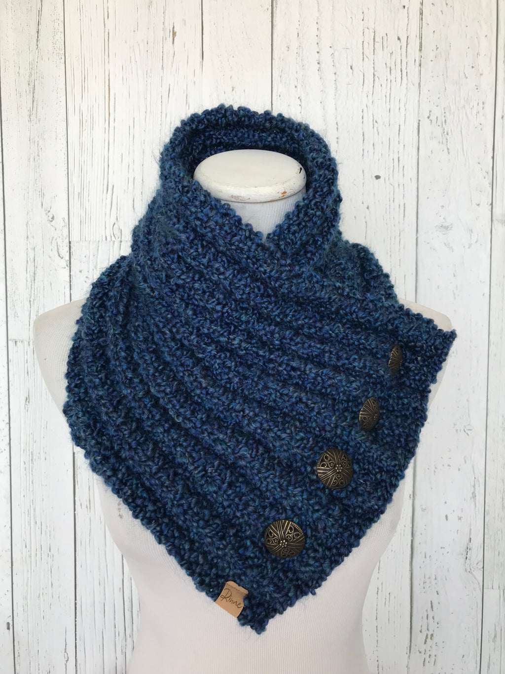 Classic Knit Button Cowl in colonial heathered blue with bronze buttons