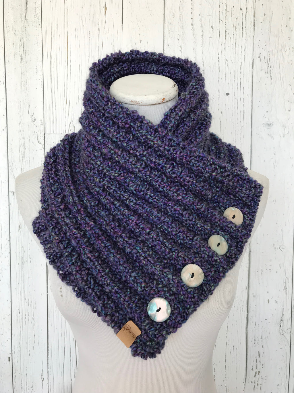 Classic Knit Button Cowl in heathered blue and purple, with shell buttons