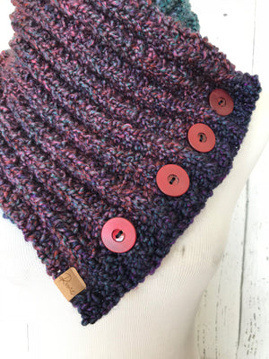 Classic Knit Button Cowl in purple, navy and teal green tones with wine color buttons