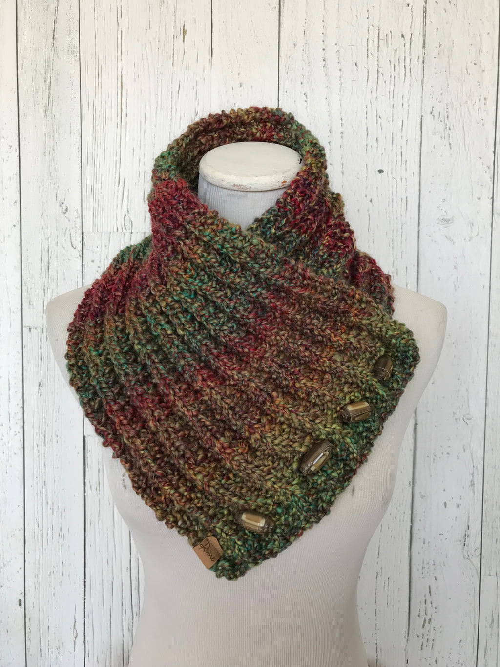 Classic Knit Button Cowl in green, red and brown tones, vintage toggle buttons