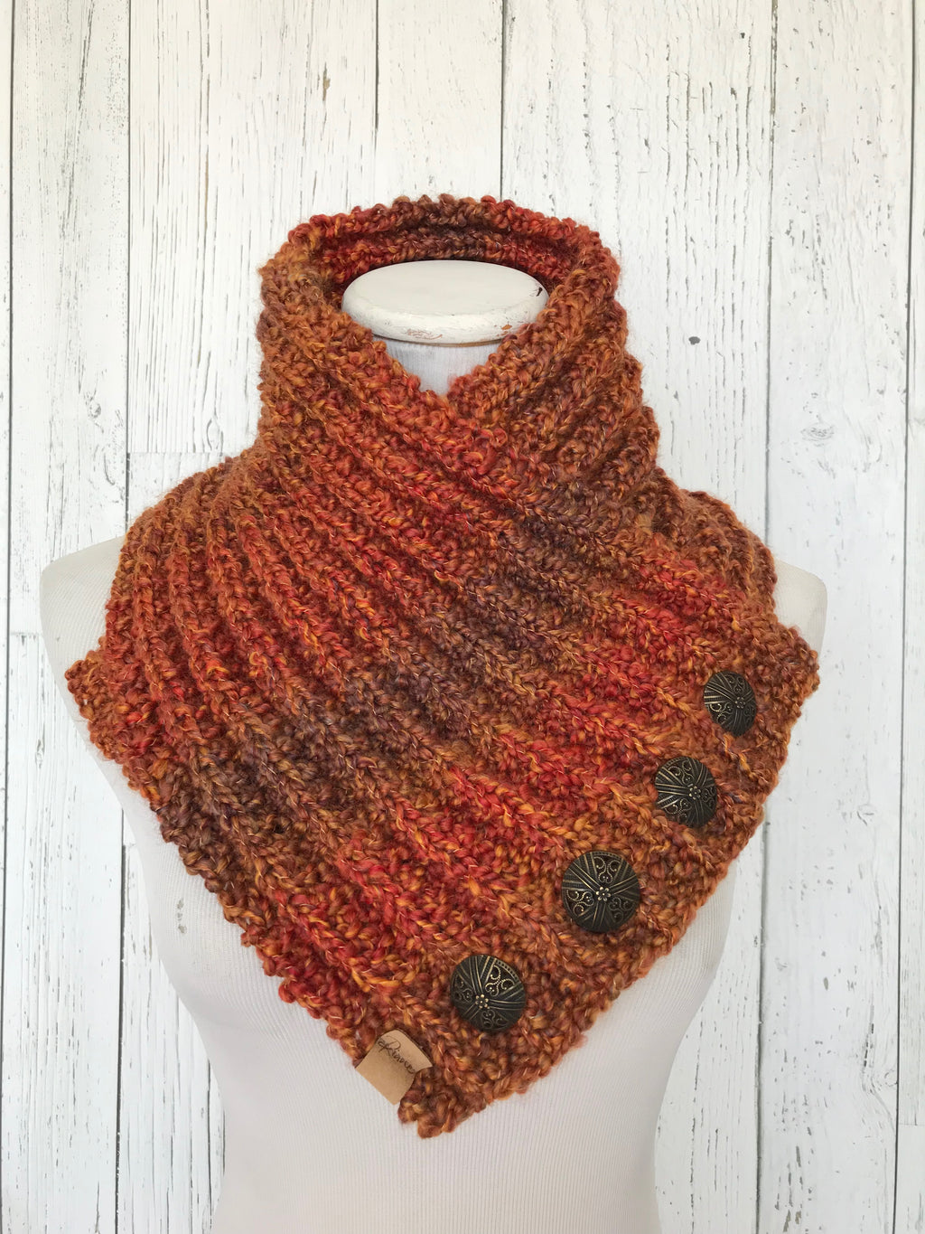 Classic Knit Button Cowl in prairie fire, oranges with bronze buttons