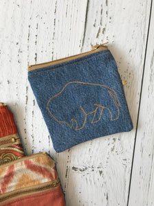 buffalo dark wash upholstery and recycled denim double zip coin pouch