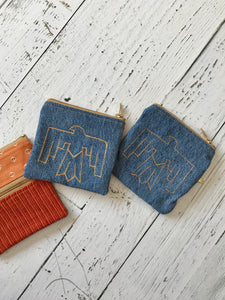 thunderbird upholstery and recycled denim dark wash double zip coin pouch