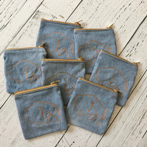 buffalo light wash upholstery and recycled denim double zip coin pouch