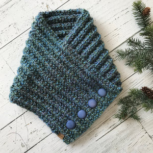 Classic Knit Button Cowl in blues and greens with blue bubble buttons