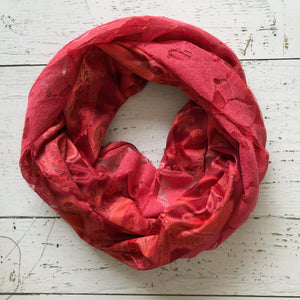 burnt coral pink lace and vintage paisley infinity scarf