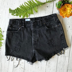 Black poppy denim cut-offs size 36