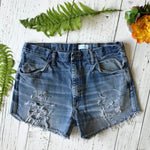 Rustler shredded denim cut-offs size 36