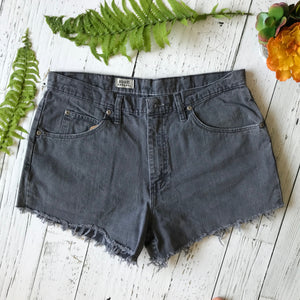 Wrangler faded grey denim cut-offs size 36