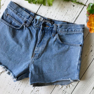 Light wash floral denim cut-offs size 36