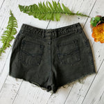 Earthy green-brown denim cut-offs size 30