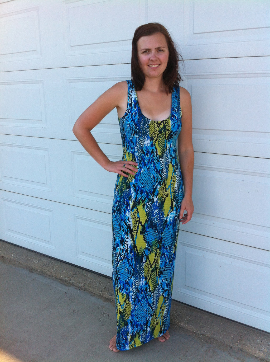 Blue & Lime Snakeskin Print Maxi Dress