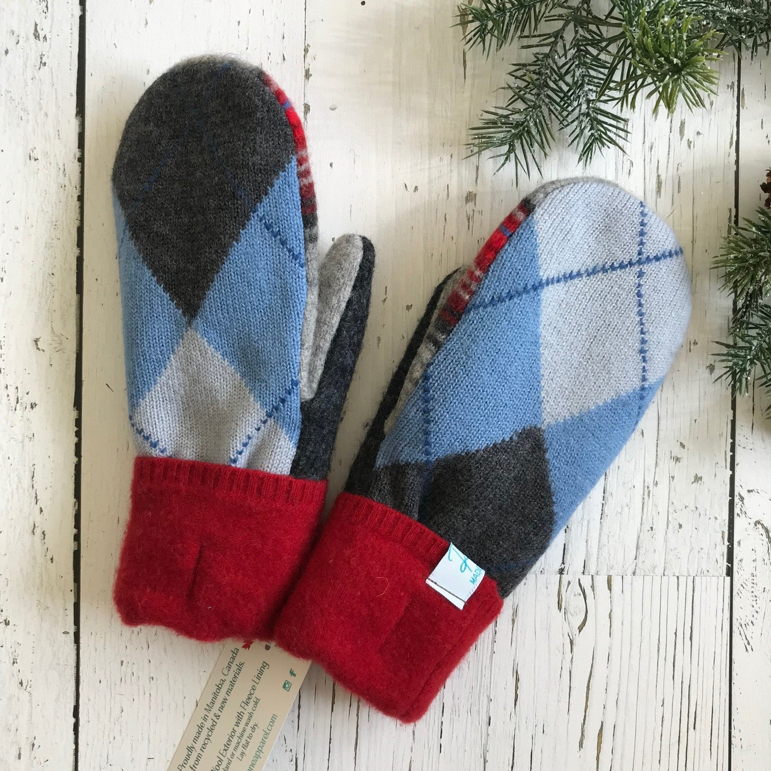 recycled wool mitts in blue and charcoal argyle, red, black and grey stripe, red cuff