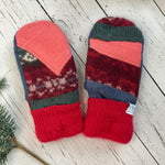 recycled wool mitts Patchwork bright red, coral pink, green, denim blue, wine red