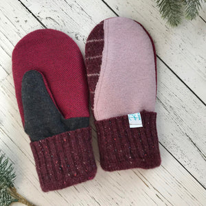 recycled wool mitts Patchwork Burgundy red, pink, wine red, charcoal grey