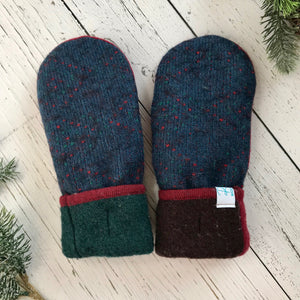 recycled wool mitts green thumbs, red, blue speckle, brown