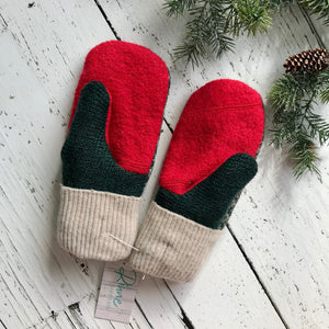 recycled wool mitts dark green, red, white, sage green print, bright red thumbs, cream cuffs