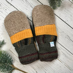 recycled wool mitts Patchwork heathered brown, bright yellow, green, black, wine, mustard