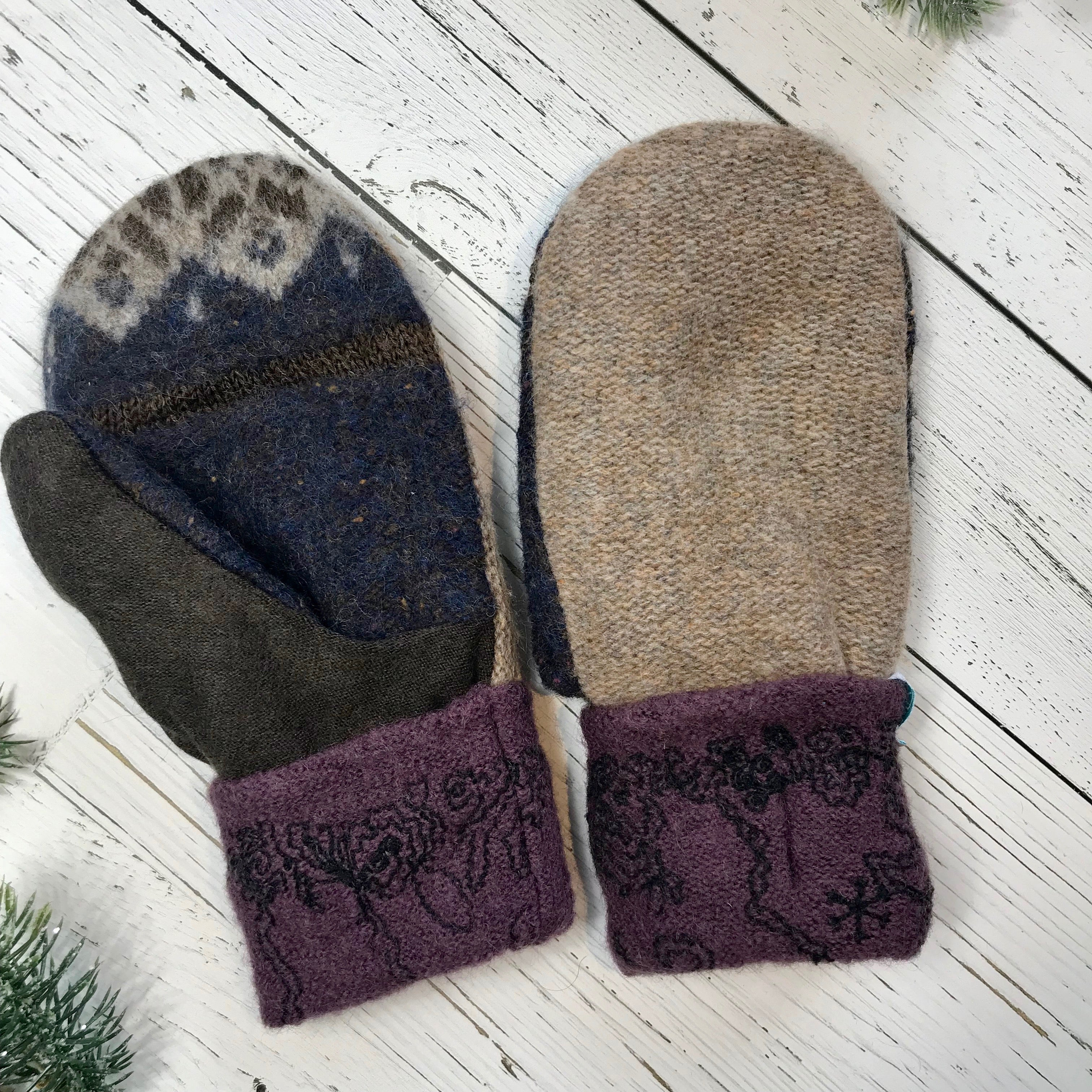 recycled wool mitts heathered brown, navy speckle, brown, purple black embroidered cuffs