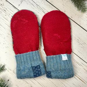 recycled wool mitts embroidered red holly bunches, blue cuffs, brown thumbs, green, red, blue pattern